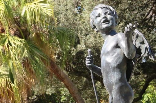 A cupid statue in the Royal Botanic Garden Sydney