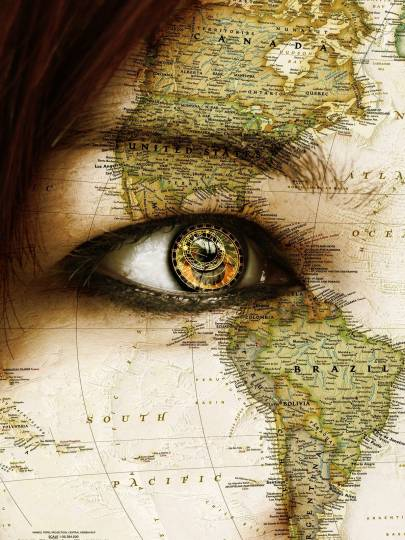 Meme of a woman's eye with a map of the world superimposed over it