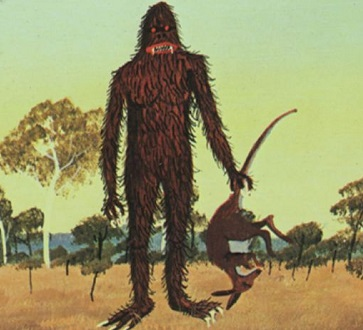 A picture of a hairy yowie carrying a dead kangaroo.