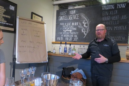 Nathan imparts his knowledge at Baker Williams Distillery