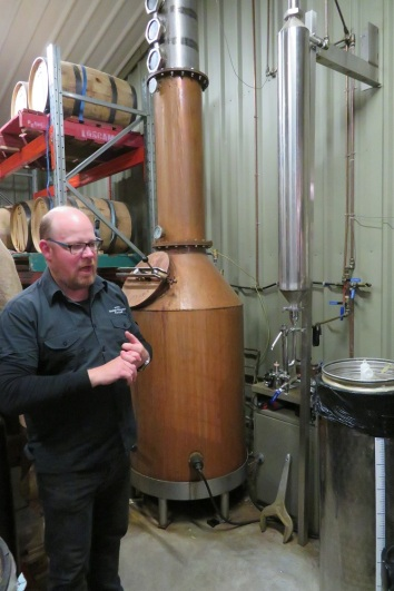 Explaining the gin distilling process at Baker Williams