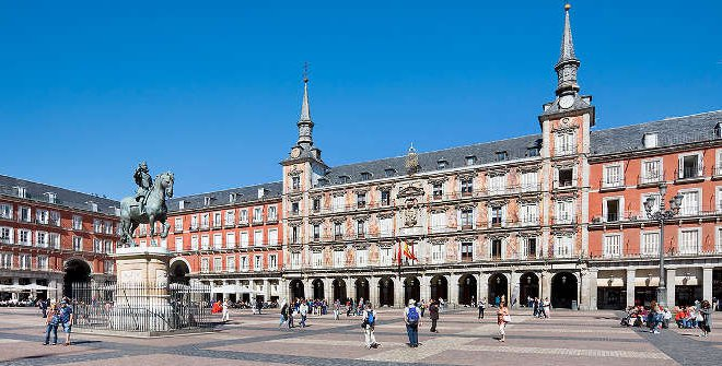 The elegant Plaza Mayor in Madrid.