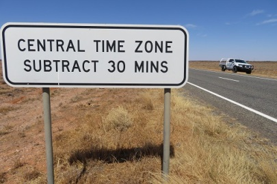 A sign showing changing time zones in outback NSW