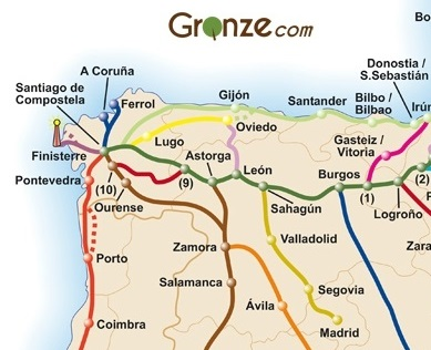 Map of caminos in Spain