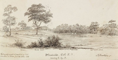 An old sketch of Menindee in 1860