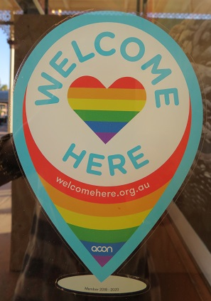 Rainbow sign - Everyone is welcome at the Palace Hotel Broken Hill