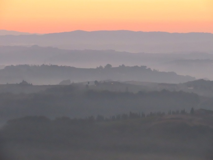 Layered colours of sunrise in Tuscany Italy