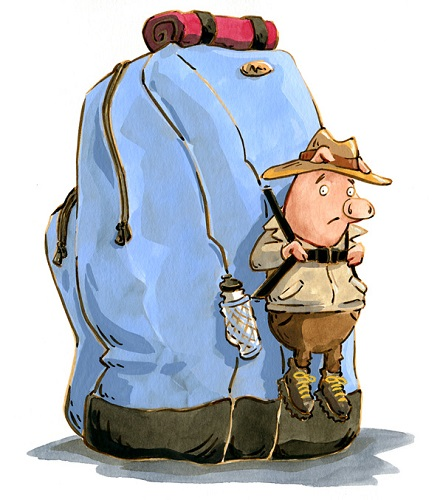 A cartoon of a pig strapped to a backpack that it is about 10 times bigger than the pig