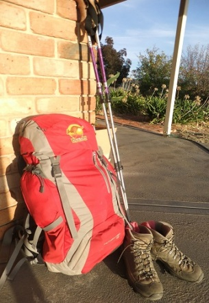 Backpack, boots and walking poles with Australia sew-on patch