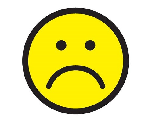 Sad face icon. Unhappy face symbol. Istock