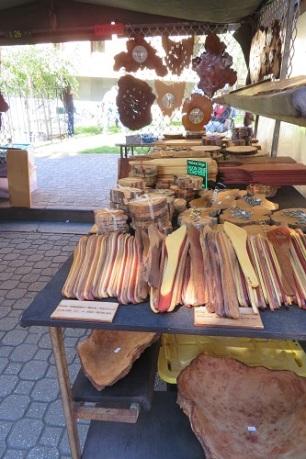 Hand crafted timber items at the Salamanca Market Hobart