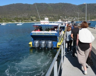 Boarding the boat at Pirates Bay for the Tasman Island Boat trip