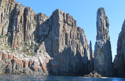 The Totem Pole and Candlestick rock formations along the Tasmanian coastline