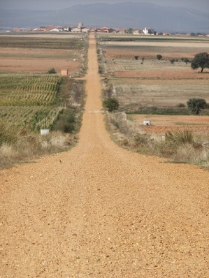 A long, straight road on the camino via de la plata in Spain