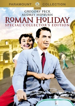 Movie poster for Roman Holiday featuring Audrey Hepburn and Gregory Peck. They are riding a Vespa with the Colosseum in the background