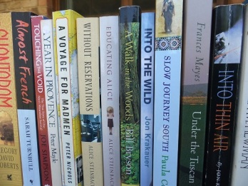 A selection of travel books stacked up next to each other
