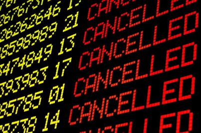 A cancelled sign for flights
