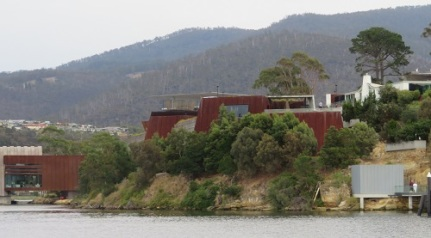External view of MONA Hobart Tasmania from the Derwent River