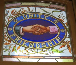 Unity and Friendship stained Glass in Broken Hill Trades Hall