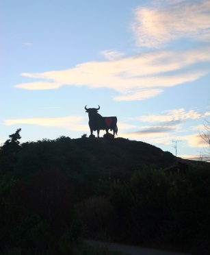 Silhouette of a bull in Spain on the camino Frances