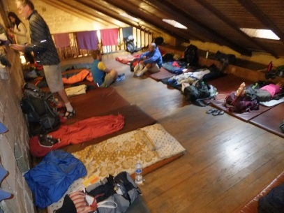 The sleeping arrangements in an albergue in Spain