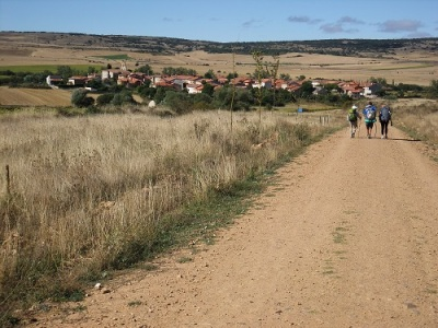 three people walking across Spain on the Camino Frances