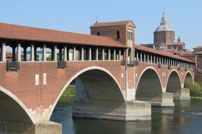 The covered bridge in Pavia, Italy