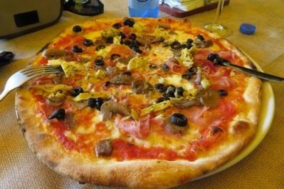 A whole Italian pizza