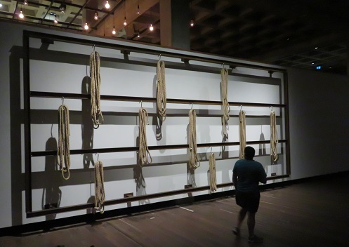 A wall of hanging ropes at MONA, Hobart Tasmania