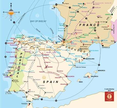 Map of caminos in France, Spain and Portugal