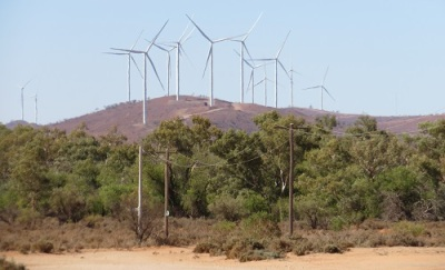 Wind turbines on the surrounding hills of Silverton Outback NSW
