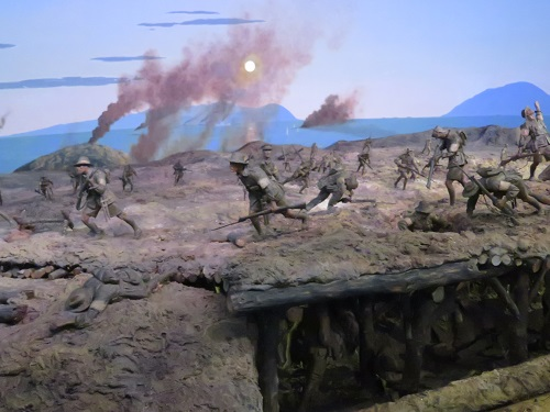 Old diorama models of a Gallipoli battle in World War 1