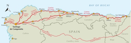 A map of the Camino del Norte.