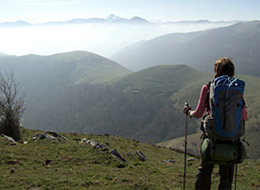 A person admiring the view over the Pyrenees. Source: People walking the camino. Source: caminodocumentary.org