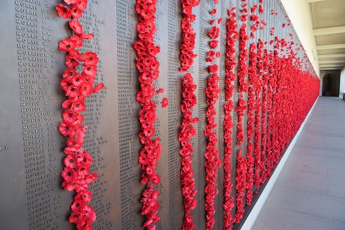 The Roll of Honour at the Australian War Memorial with thousands of red poppies