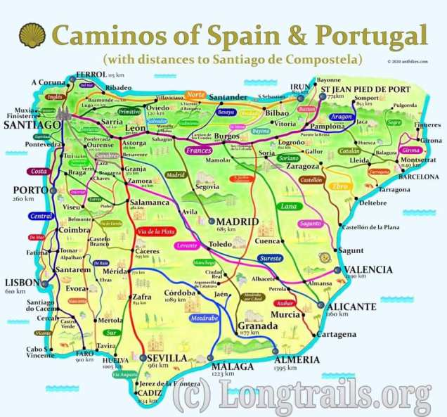 Map of the many caminos you can do in Spain