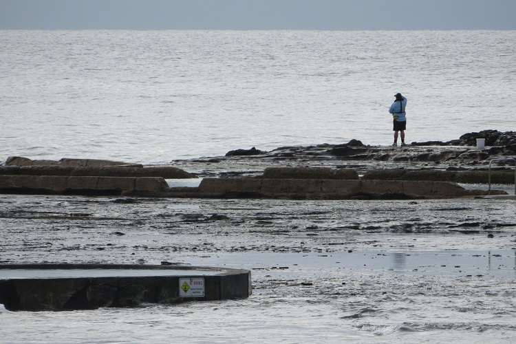 A lone fisherman on some rocks along the Kiama Coast Walk