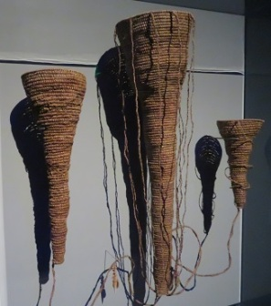 Woven baskets representing the three water spouts at the Endeavour Exhibition, National Museum Canberra