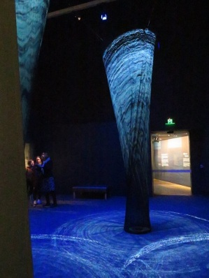 Sound and light show of three water spouts at the Endeavour Exhibition, National Museum Canberra