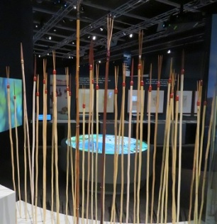 Aboriginal spears at the Endeavour Exhibition, National Museum Canberra