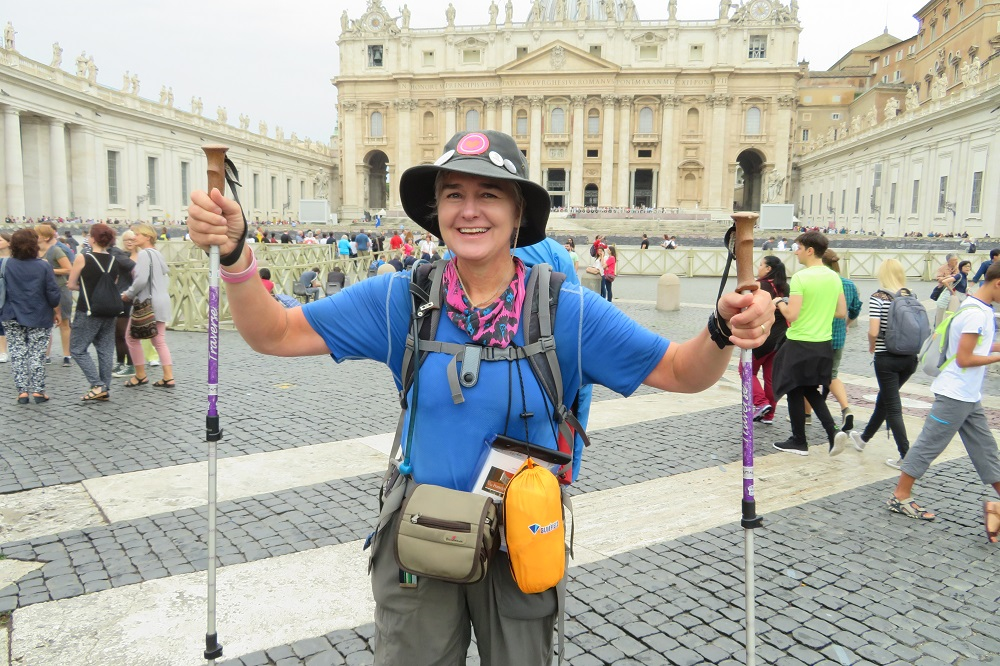 Walking into St Peter's Square, Rome at the end of the Via Francigena