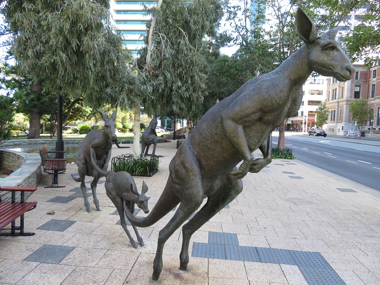 Kangaroo sculpture on the streets of Perth