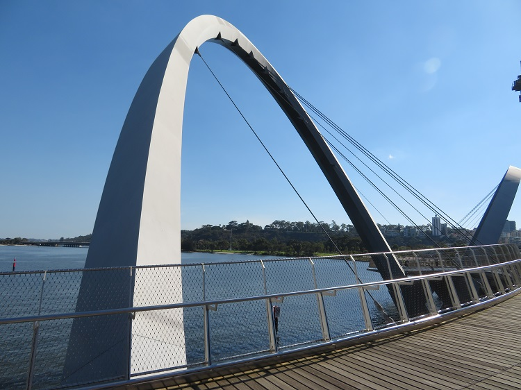 Architectural bridge with the Swan River in the background, Perth