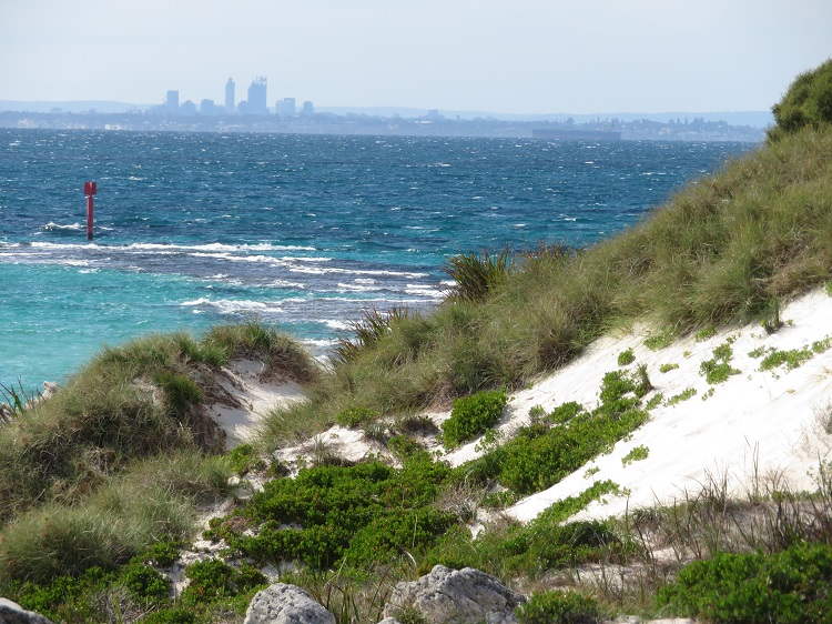 Fremantle in the distance from Rottnest Island