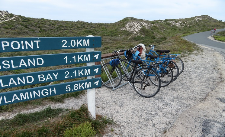 Parked bicycles on Rottnest Island