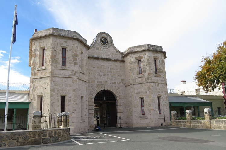 The imposing entrance gate to Fremantle Prison