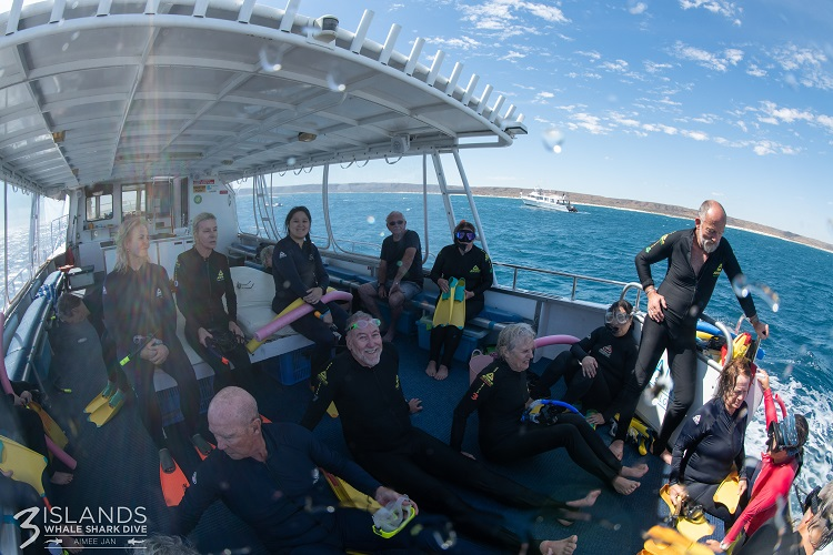 Getting ready to swim with whale sharks on Ningaloo Reef